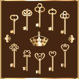 Set of vintage gold keys Stock Image