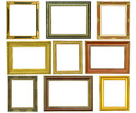 Set of vintage gold picture frame isolated Royalty Free Stock Images