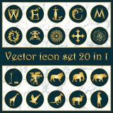 Set of vintage gold vector icon logo 20 in 1. With letters W, E, L, C, O, M, animals silhouettes, ornaments, cross, crane, camera, mask and flower on dark blue vector illustration