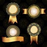 Set of vintage golden design elements. Stock Photography