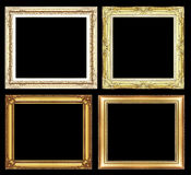 Set of Vintage golden frame with blank space and clipping path, Royalty Free Stock Photos
