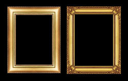 Set of vintage golden frame with blank space isolated on black Stock Images