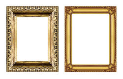 Set of vintage golden frame with blank space isolated on white b Stock Photos