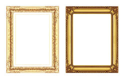 Set of vintage golden frame with blank space isolated on white b Royalty Free Stock Photo