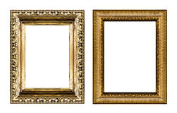 Set of vintage golden frame with blank space isolated on white b Royalty Free Stock Photos