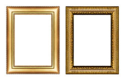 Set of vintage golden frame with blank space isolated on white b Royalty Free Stock Image