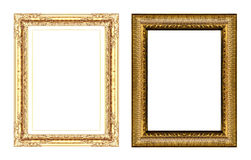 Set of vintage golden frame with blank space isolated on white b Stock Photography
