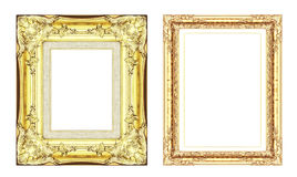 Set of vintage golden frame with blank space  isolated on white Royalty Free Stock Photos