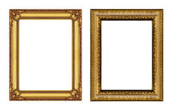 Set of vintage golden frame with blank space  isolated on white Stock Photos