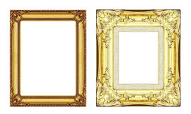 Set of vintage golden frame with blank space  isolated on white Stock Image