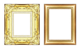 Set of vintage golden frame with blank space  isolated on white Stock Photo