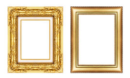 Set of vintage golden frame with blank space  isolated on white Stock Photography