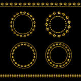 Set of vintage golden frames and lines Royalty Free Stock Photo