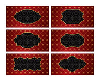 Set of vintage golden labels with red damask backg Royalty Free Stock Photography