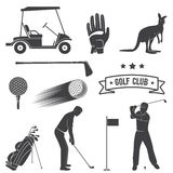 Set of vintage golf elements and equipment. Royalty Free Stock Photography