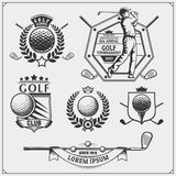 Set of vintage golf labels, badges, emblems and design elements. Royalty Free Stock Image