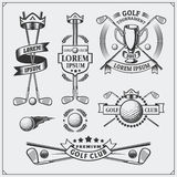 Set of vintage golf labels, badges, emblems and design elements. Royalty Free Stock Photography