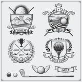 Set of vintage golf labels, badges, emblems and design elements. Stock Photos