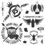 Set of vintage graffiti and street art emblem, labels and design elements. Monochrome style. Royalty Free Stock Photo
