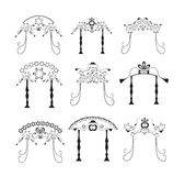 Set of vintage graphic Chuppah. Religious Jewish wedding canopy for. Vector illustration on isolated background Royalty Free Stock Images