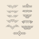 Set of Vintage Graphic Elements for Design. Line Art Design for Invitations, Posters. Linear Element. Geometric Style. Lineart Royalty Free Stock Photo