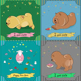 Set of vintage greeting cards with cartoon animals Royalty Free Stock Photo