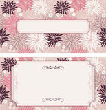 Set of vintage greeting cards, invitation with floral ornaments Stock Photos