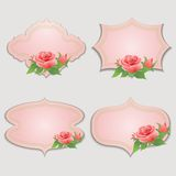 Set of vintage greeting cards with rose. Stock Photo