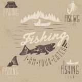 Set of vintage grunge labels with fishing Stock Image