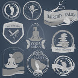 Set of vintage hairstyle, body care and cosmetology logos. Vector logo templates and badges royalty free illustration