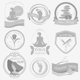 Set of vintage hairstyle, body care and cosmetology logos. Vector logo templates and badges stock illustration