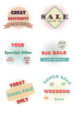 Set of vintage halftone badges. And labels Royalty Free Stock Images