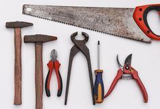Set of vintage hand construction tools on a white background royalty free stock images