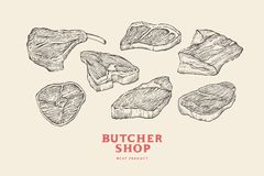 Set vintage hand-drawn different cuts of meats. Engraving pictures for concept of farmer`s market and shop. Vector Illustration Stock Photography