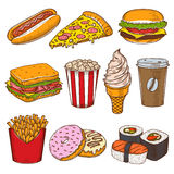 Set of vintage hand drawn fast food icons. Royalty Free Stock Image