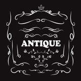 Set of vintage hand drawn line art retro antique deco design Stock Image