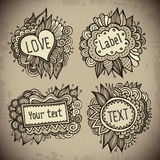 Set of vintage hand drawn nature floral vector labels. From your messages Stock Image