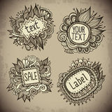 Set of vintage hand drawn nature floral vector labels Royalty Free Stock Photography
