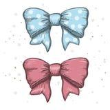 Set of vintage hand drawn ribbon bows. Vector illustration. EPS Royalty Free Stock Images
