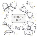 Set of vintage hand drawn ribbon bows. Vector illustration. EPS Royalty Free Stock Image
