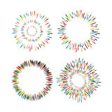 Set of vintage, hand drawn sunburst vector icons Stock Photo