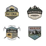 Set of vintage hand drawn travel logos. Camping labels concepts. Mountain expedition badge designs. Travel logos, camp. Logotypes collection. Stock vector retro Royalty Free Stock Photo