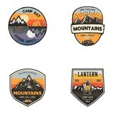 Set of vintage hand drawn travel logos. Hiking labels concepts. Mountain expedition badge designs. Travel logos. Trekking logotypes collection. Stock vector Royalty Free Stock Images