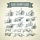 Set of vintage hand-painted hands. Vector Royalty Free Stock Photos