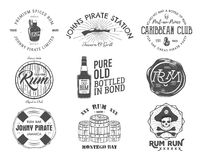 Set of vintage handcrafted emblems, labels, logos. Isolated on a white background. Sketching filled style. Pirate  Royalty Free Stock Photography