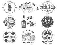 Set of vintage handcrafted emblems, labels, logos. Stock Photo