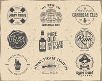 Set of vintage handcrafted pirates emblems, labels, logos. Isolated on a scratched paper background. Sketching filled Stock Photos