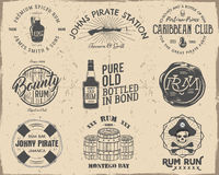 Set of vintage handcrafted pirates emblems, labels, logos.  on a scratched paper background. Sketching filled Royalty Free Stock Image