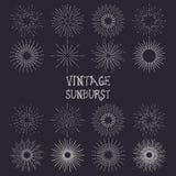 Set of vintage handdrawn sunbursts vector Stock Images