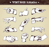 Set of vintage hands Stock Images
